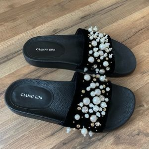 Gianni Bini Quinnie Faux Pearl Embellished Slides